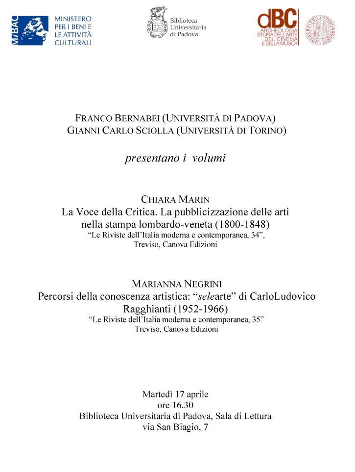 Dott storia e critica dei beni artistici musicali e for Biblioteca di storia moderna e contemporanea